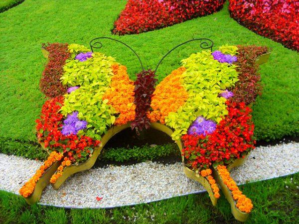 Клумба в форме бабочки
