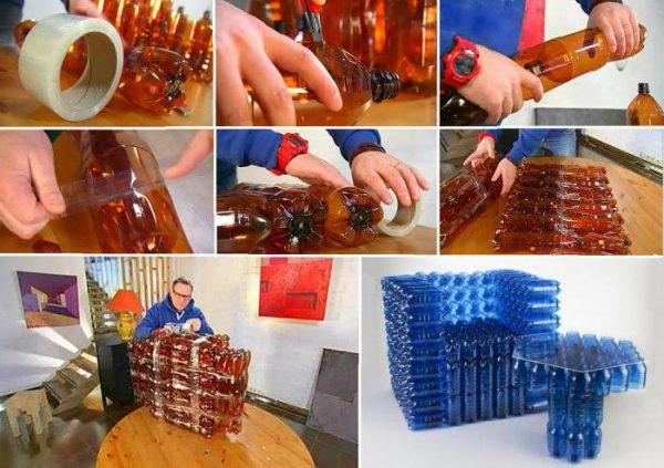 Кресло и стол из пластиковых бутылок