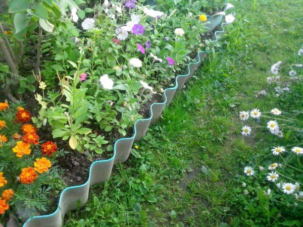 Забор из шифера для цветника